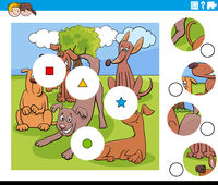 match pieces puzzle with funny dogs characters