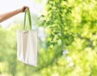 hand holding reusable canvas bag for food shopping