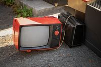 Retro old black and white TV set reciever on a street market