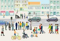 Straße mit Fußgänger