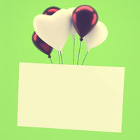 Shiny balloons with a blank card on green vintage color stylized