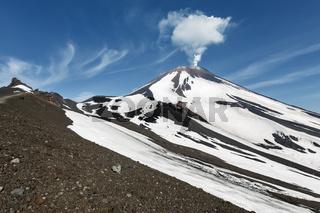 Beautiful Kamchatka volcanic landscape: active Avachinsky Volcano. Kamchatka, Russia