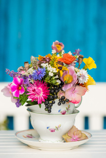 Colorful wild blossoms in a old coffee cup