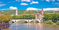 Verona bridge and Adige river panoramic view