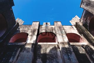 Frog view in arch patio in the former monestary Convent de San Bernardino de Siena in Valladolid, Yucatan, Mexico