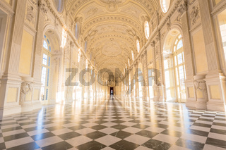 Gallery interior with amazing luxury marble, Venaria Reale, Italy.