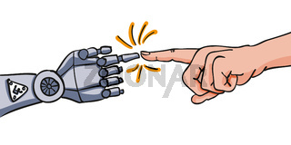 Human hand points with its index finger on hand of roboter - human-robot interaction