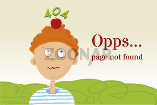 William Tell s error 404 page in cartoon style.