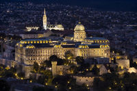 Buda Castle at night on Castle Hill in Budapest, Hungary