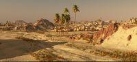 Arabic small town on desert, 3d rendering