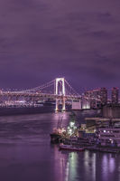 Purple night on illuminated Rainbow Bridge with cruise ships moored in Odaiba Bay of