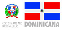 Vector set of the coat of arms and national flag of Dominicana