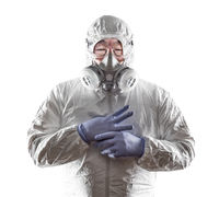 Chinese Man Wearing Hazmat Suit, Goggles and Gas Mask Isolated On White