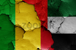 flags of Mali and UAE painted on cracked wall