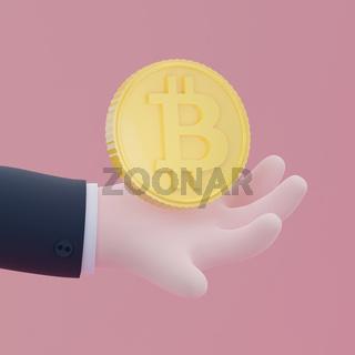 Bitcoin 3D trendy illustration.