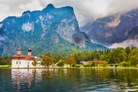 The lake Königssee is surrounded by mountains