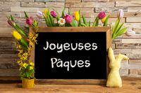 Tulip Flowers, Bunny, Brick Wall, Blackboard, Joyeuses Paques Mean Happy Easter