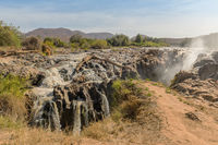 The Epupa Falls of the Kunene River on the border between Angola and Namibia