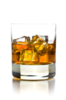 whiskey with ice in glass
