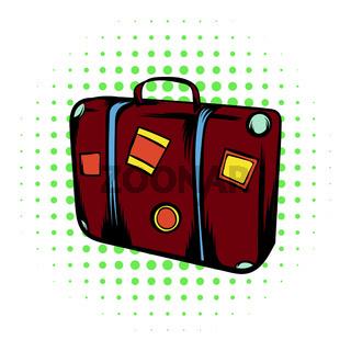 Brown travel suitcase comics icon
