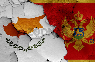 flags of Cyprus and Montenegro  painted on cracked wall