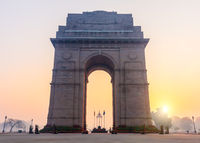 India Gate at sunrise, Rajpath, New Dehli, Delhi, India