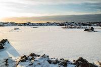 Iced lake in Gardabaer, Iceland