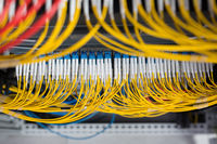 Network servers and fiber optic equipment in a data center