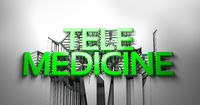 Green Telemedicine lettering against an abstract cracked white wall. 3d illustration