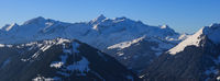 Distant view of the Diablerets mountain range in winter.