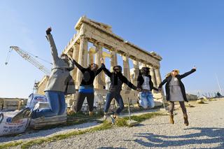 Freudensprung vor Parthenon, Acropolis, Athen, Griechenland