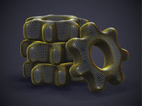 Stack of 3D gears made of yellow dots on gray background.