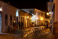 Night view of the historic city of Paraty with its old colonial style houses