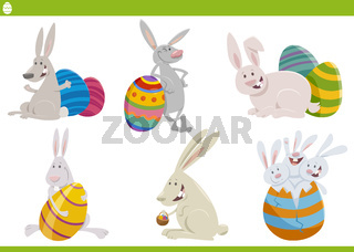 Easter bunnies characters set cartoon illustration