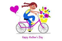 Mother's Day - Cute girl on a bike gives her mothers flowers - Card horizontal - Handdrawn illustration