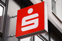 Close-up sign with Sparkasse logo - German savings bank