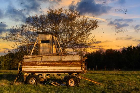 alter Anhänger mit Hochsitz im Sonnenuntergang