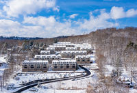 Outlooks at Cheat Lake in the winter snow in Morgantown