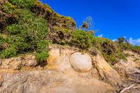 One boulder in the beach soil