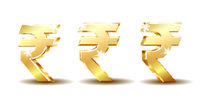 Golden Rupee Currency Icon Isolated on white