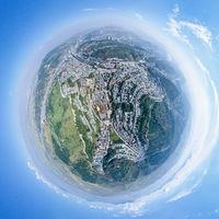 spherical panorama of taer lamasery in qinghai