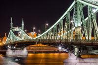 Night view of Liberty Bridge - Freedom Bridge in Budapest, Hungary