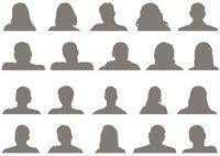 Satz männliche und weibliche Kopf-Silhouetten