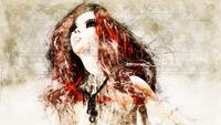 Digital artistic Sketch, based on a self-created 3D Illustration of a Fantasy Female