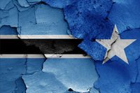 flags of Botswana and Somalia painted on cracked wall
