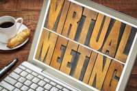 virtual meeting word abstract in wood type