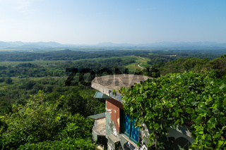 View from the Dora Observatory in the DMZ to North Korea Propaganda village and Kaesong with observation post bunker