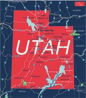 Utah state detailed editable map