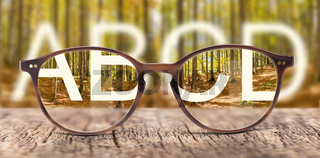 glasses with correction of blur
