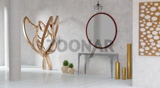 Hauseingang mit Kunstgegenständen, Ablagetisch und Spiegel